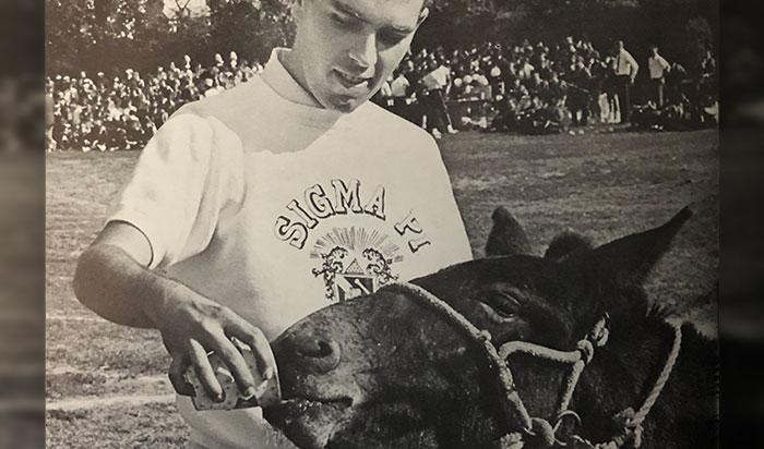Student giving a mule water (1964)
